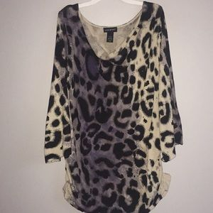 Lane Bryant 14/16 Animal Print 3/4 Scoop Sweater
